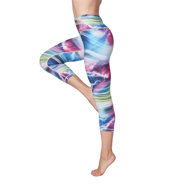 bluee Ornate Witkey Women Printed 3 4 Yoga Pants High Waist Tummy Control for Workout Running Yoga Leggings
