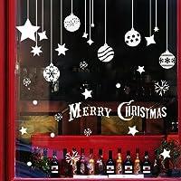 Extsud 2 Pcs Stickers Muraux Noël Autocollant Fenêtre Vitrine Vitre Boule Étoile Floconde Neige Bonhomme de Neige