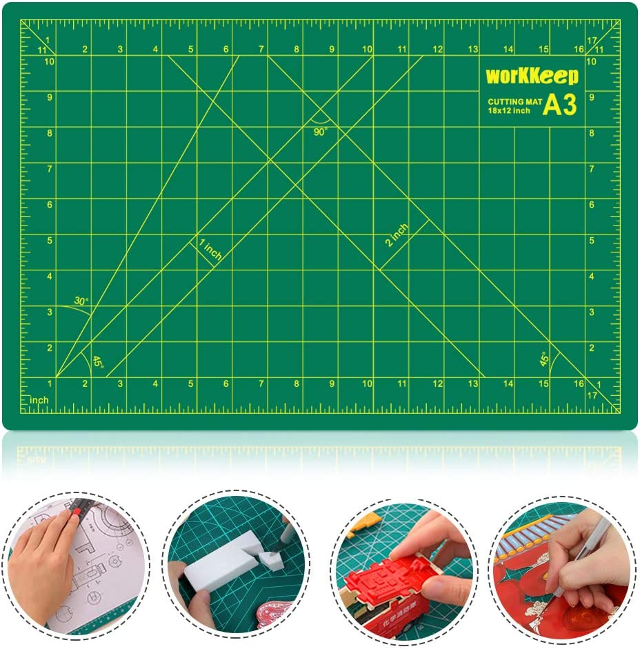 WORKKEEP 12 x 18 Craft Cutting Mat Self Healing PVC Cutting Mat Double Sided 5-Ply Cutting Board for Sewing Crafts Hobby /& Scrapbooking Project etc