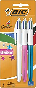 BIC 4 Colours Shine Retractable Ball Pen Medium Point (1.0 mm) - Assorted Body Colours, Pack of 3 Pens