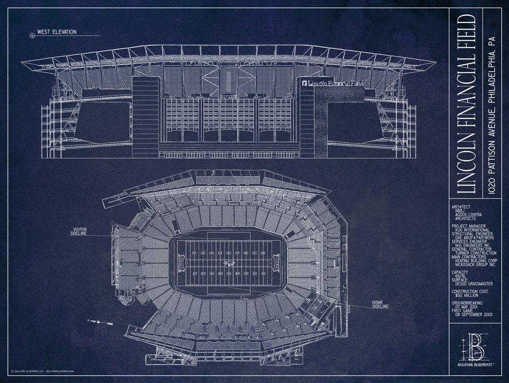 Lincoln Financial Field Blueprint Style Print
