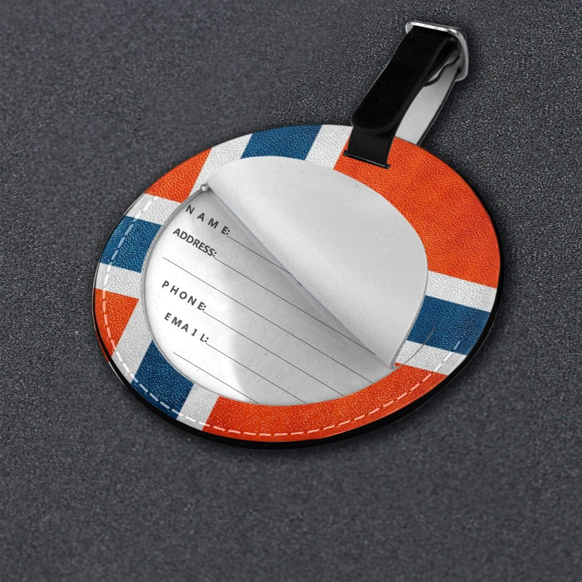 Hs8weyhfffFFF Luggage Tag Round Norway Flag Leather Luggage Bag Label Privacy Cover Business Travel Bag Label