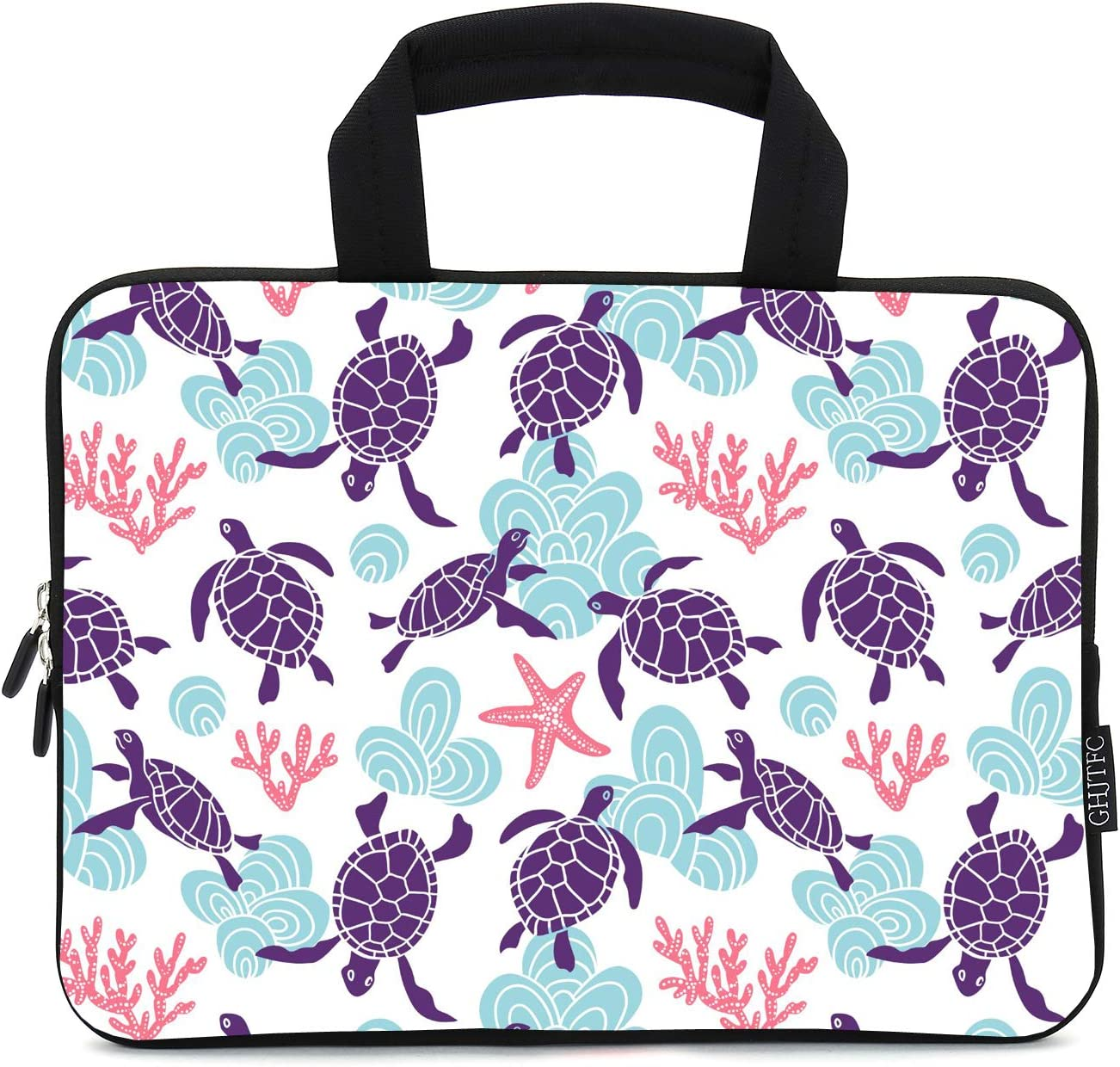12 Inch Laptop Sleeve Carrying Bag Protective Case Neoprene Sleeve Tote Tablet Cover Notebook Briefcase Bag with Handle for Women Men(Turtle,12