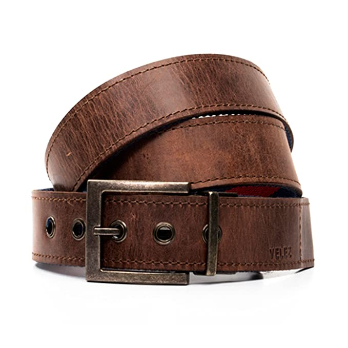 VÉLEZ 11488 Genuine Leather Belt For Men | Correa Cinturones Cuero De Hombre Coffee 30