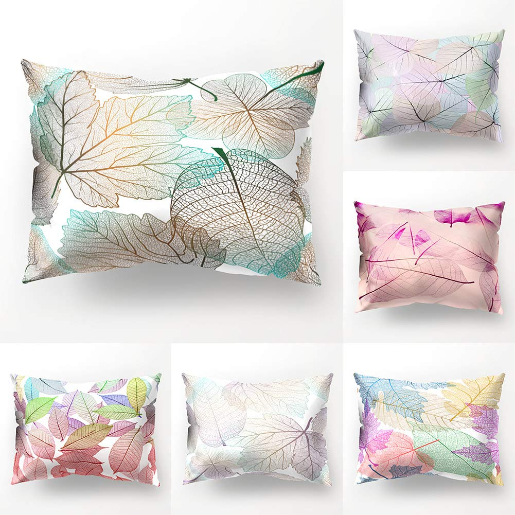 Colorful Leaves Print Pillow Case Waist Throw Cushion Cover Bedroom Decoration Christmas Home Decoration Printed Pillowcase Cushion Cover For Hair And Skin Health Anniston Pillowcase Kids Bedding Home Kitchen