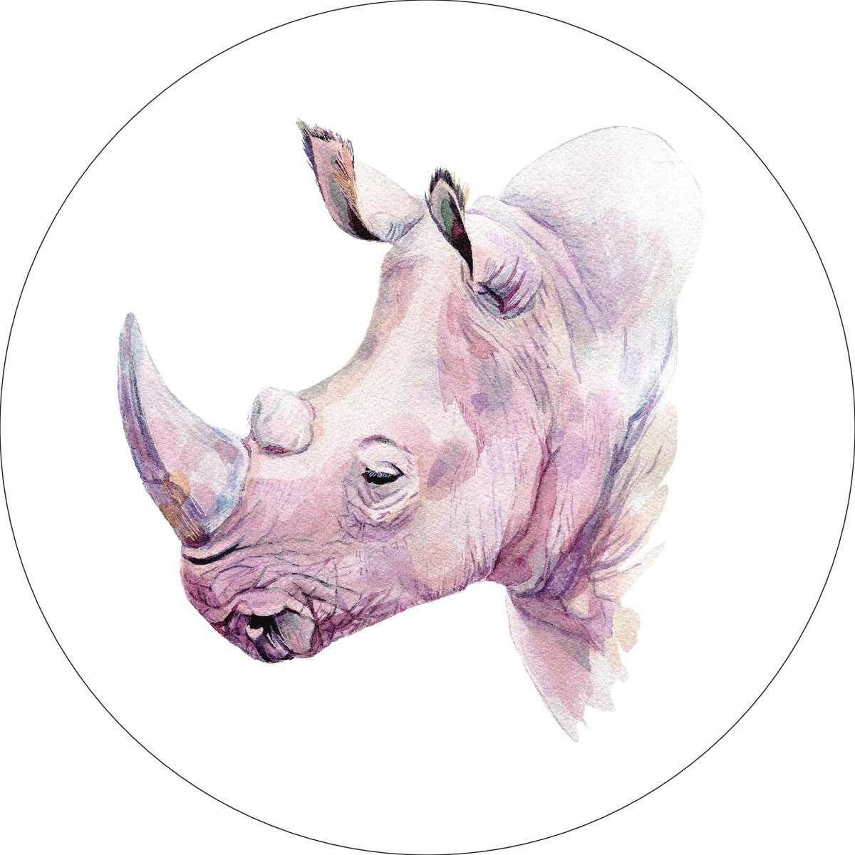 Rhino Rhinoceros Home Wall Shelf Decor Animal Decorations Watercolor Round Sign - 12 Inch, Plastic