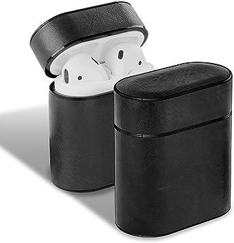 para AirPods 2 Funda de Cuero Original para Auriculares Caso de Caja de la Cubierta para el Airpods 1 2 Cubierta de Microfibra Suave Estuche rígido, Negro NO Correa: Amazon.es: Electrónica