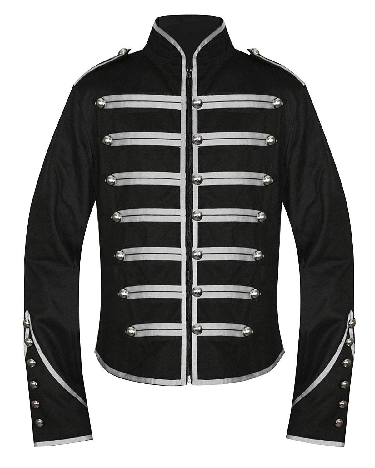 Banned Men's Black and Silver Military Jacket - Medium by Banned