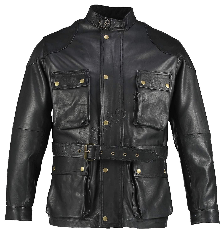 Gallanto Black Benjamin Button Biker Mens Long Leather Jacket Motorcycle Armoured Vintage