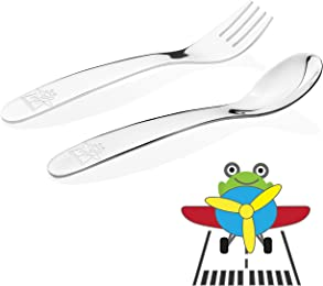 Kiddobloom Baby / Early Toddler Stainless Steel Utensil Set, Airplane Model, 2pc (Spoon and Fork) Set; Suitable for Baby Led Weaning or Baby Feeding or Self Feeding; Perfect for Baby Shower Gifts
