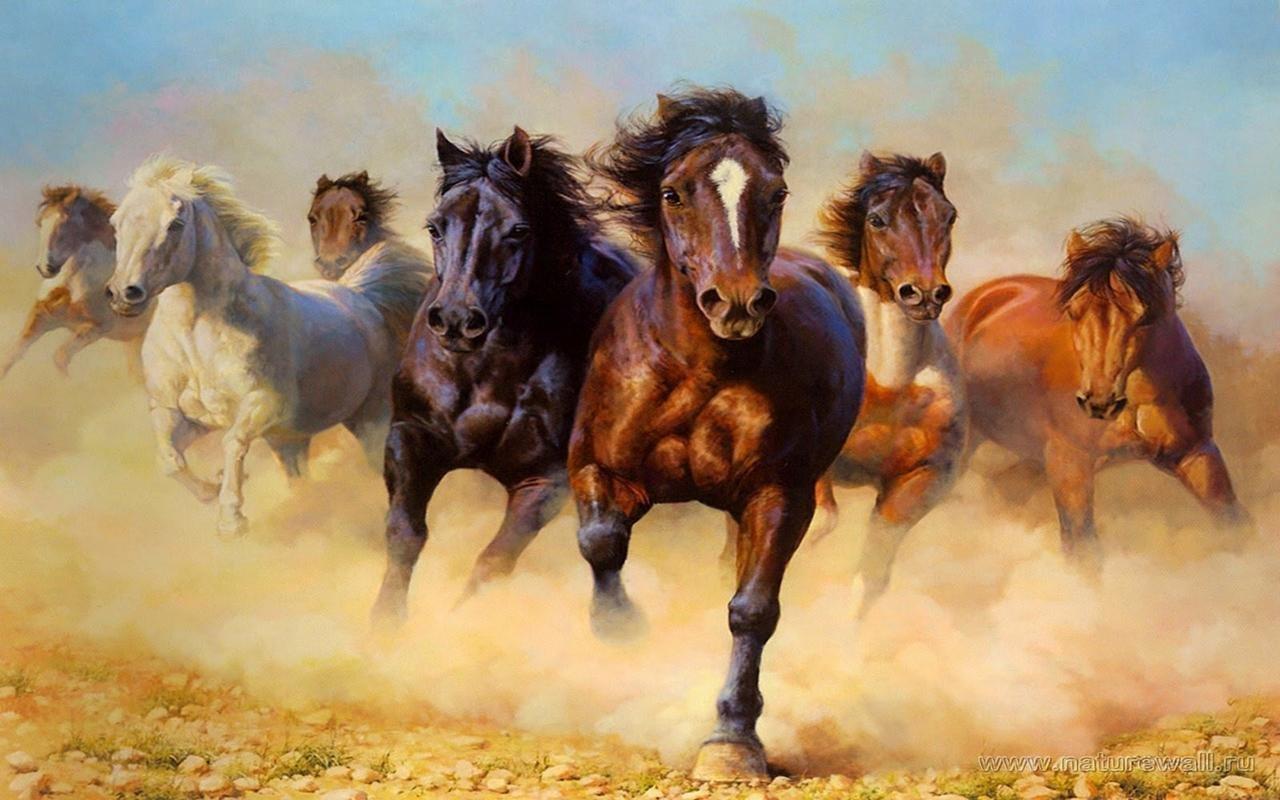Online Center Seven Running Horses Vastu Painting For Home And