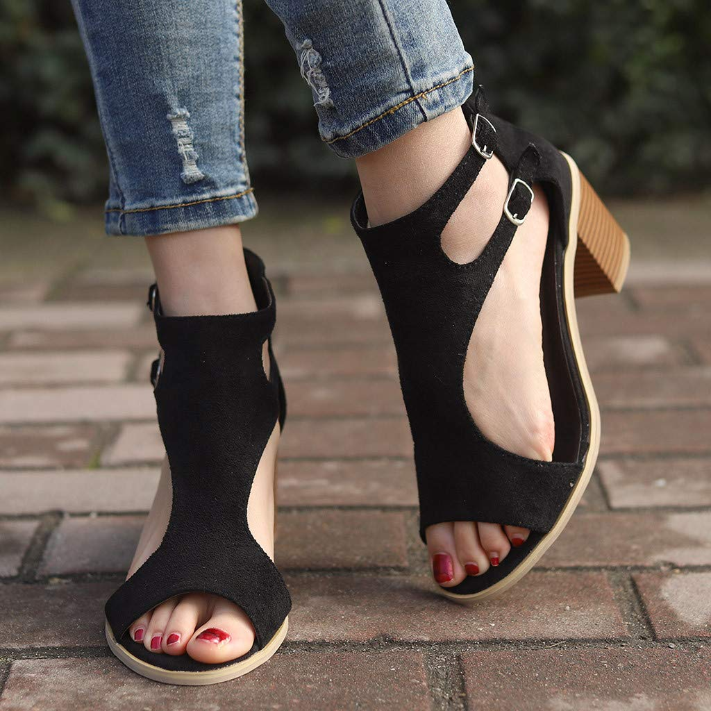 Orangeskycn Women Sandals Spring Summer Ladies Sandals Fashion Fish Mouth Hollow Out Roman Single Shoes