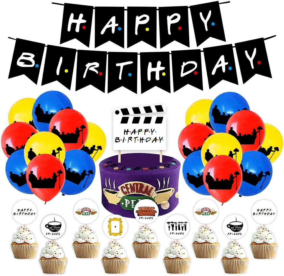 Decoración de cumpleaños Set, Friends Theme Happy Birthday Banners & Birthday Cake Cupcake Toppers & 60 Globos Pary Supplies para Fiesta temática Adults: Amazon.es: Hogar
