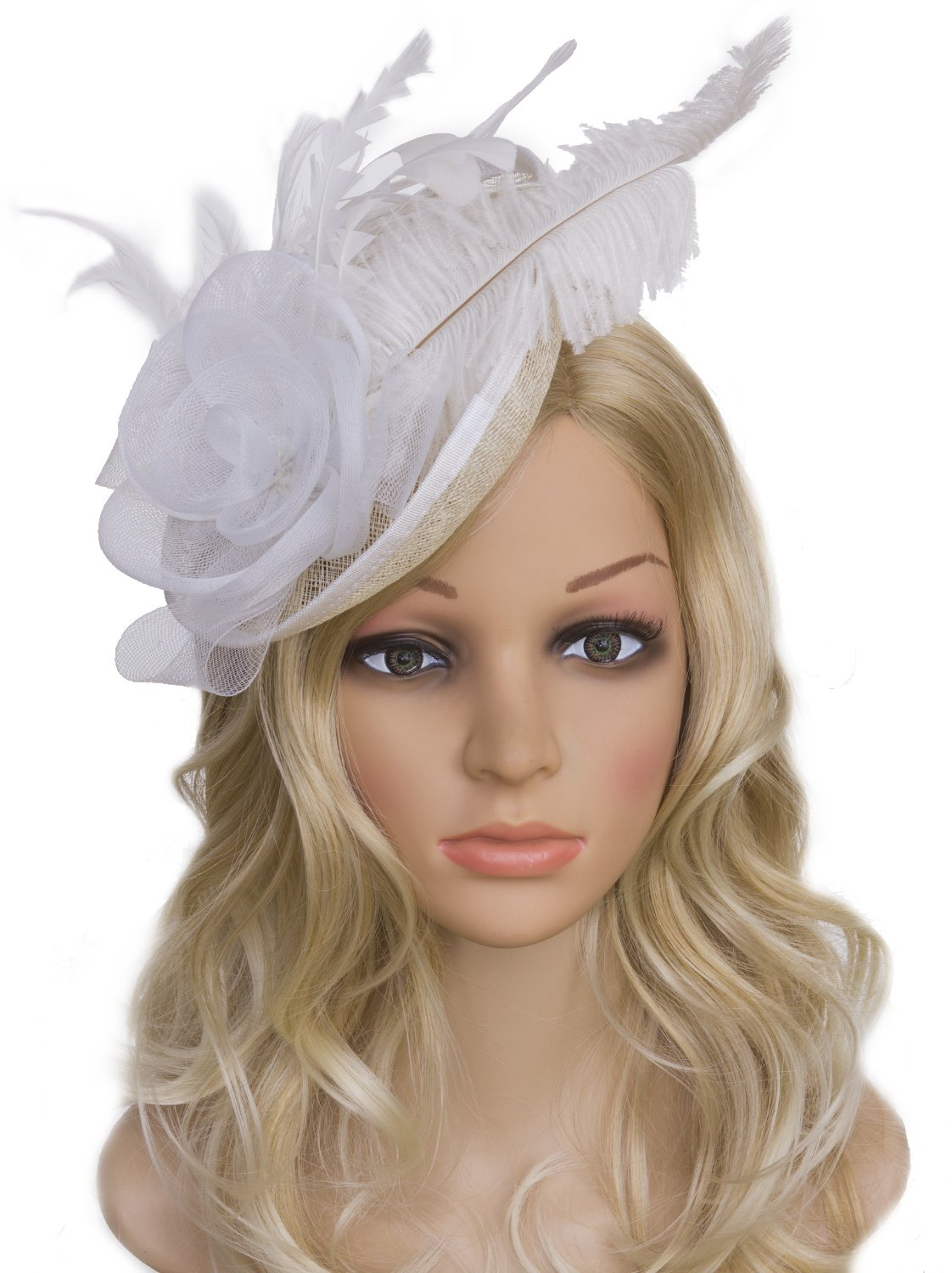 Vijiv Women Vintage Derby Fascinator Hat Pillbox Headband Feather Cocktail Tea Party, White, One Size