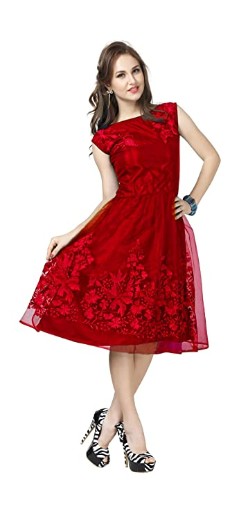 Buy Adad Fab Women S Net Knee Length One Piece Skater Dress Red Large At Amazon In