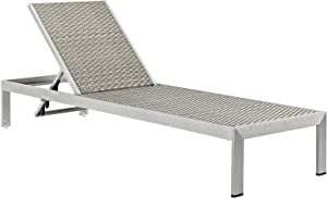 Modway Shore Aluminum Rattan Outdoor Patio Poolside Chaise Lounge Chair in Silver Gray