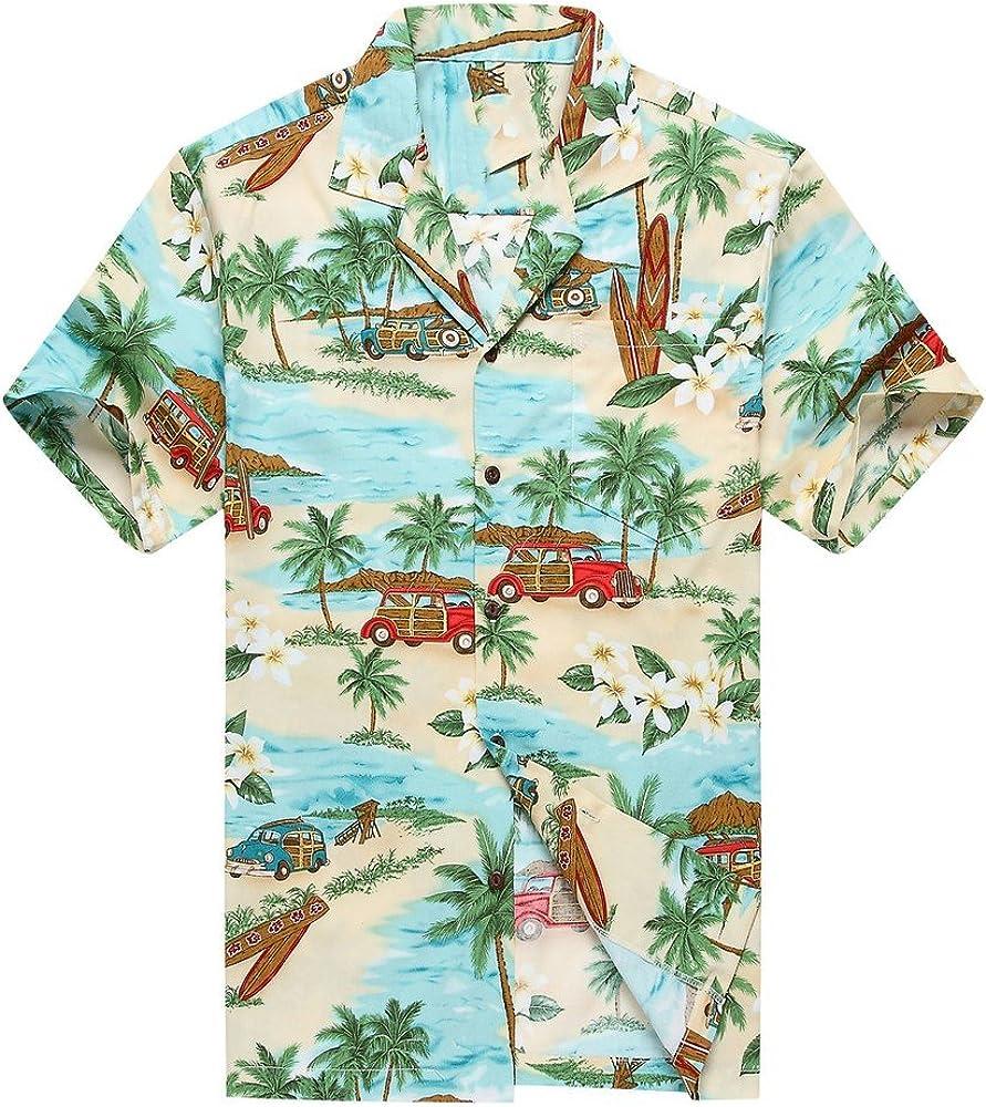 Hecho en Hawaii Camisa Hawaiana de los Hombres Camisa Hawaiana PlumeriaPalma Mini Tablas de Surf Verde: Amazon.es: Ropa y accesorios