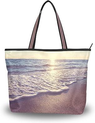 WIHVE Sunset Sea Womens Tote Bag Top Handle Satchel Handbags Shoulder Bags