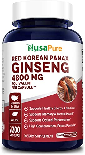 Red Korean Panax Ginseng 4800mg 200 Veggie Caps Non-GMO