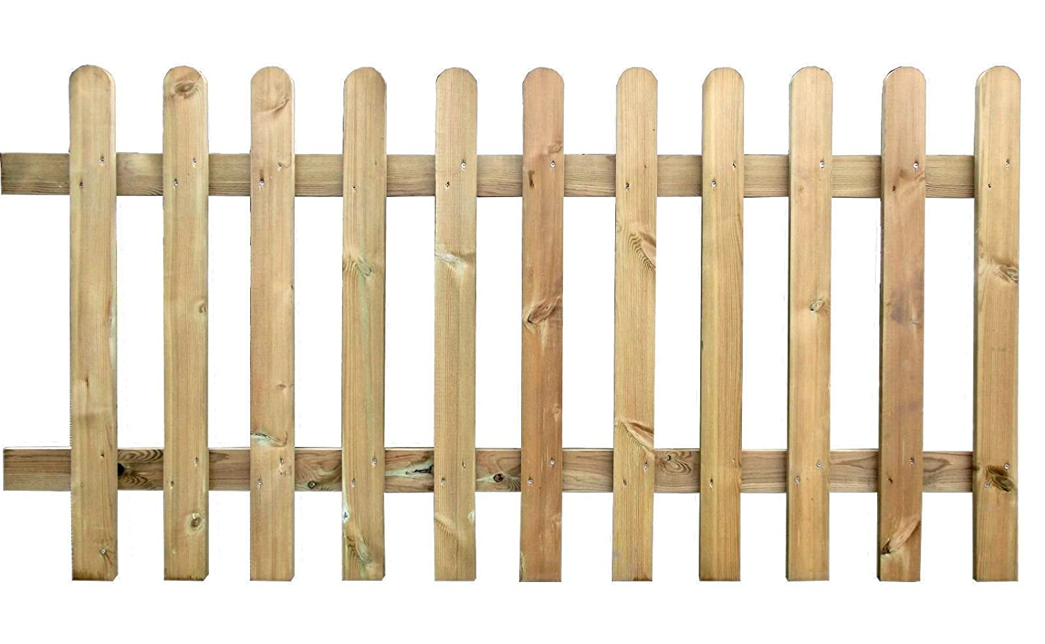 Pressure Round Top Treated Wooden Picket Fence Panel 6ft Sections 2FT (01) Ruby