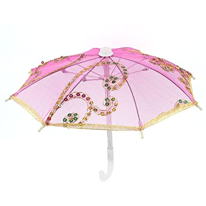 Tono de oro bordado de flores para sombrilla paraguas plegable Mini fucsia