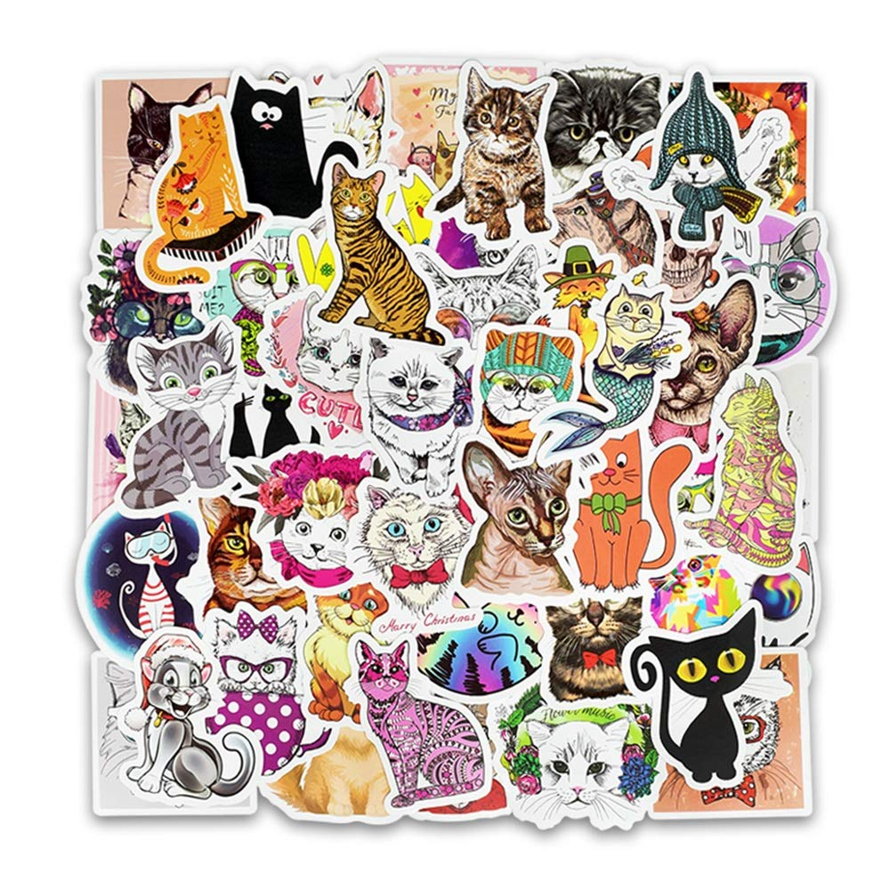 Ladies Vinyl Stickers Waterproof 50 Pieces Cute Cat Sticker Laptop and Kettle Sticker Aesthetics Fashion Sticker Pack Suitable for Teens Girls