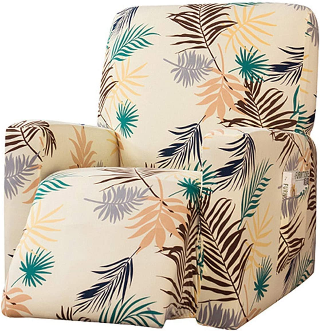 MJL Stretch Recliner Slipcovers with Side Pockets Printed Recliner Chair Covers for Lazy Boy Furniture Protector for Living Room Armchair #2 One Size