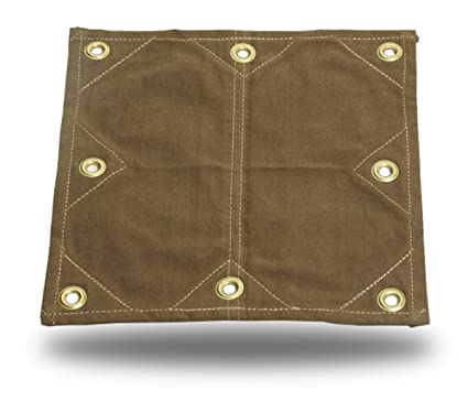 12x16 18oz Heavy Duty Canvas Tarp with 2' Grommets - Reinforced Patches!  (12X16)