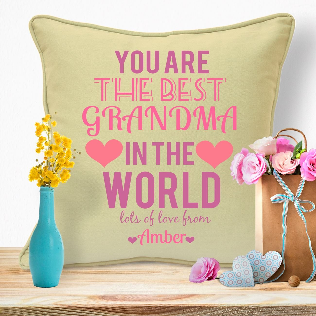 Personalised Gifts For Grandma Nanny Granny Mothers Day Birthday Christmas Xmas From Grandson Granddaughter Grandchildren Grandkids Long Distance First Time Grandmothers Worlds Best Grandma Cushion