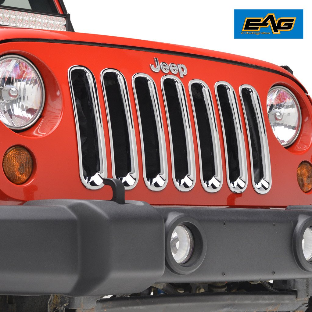 07-18 Jeep Wrangler JK Grille Insert Main Upper Chrome Trim Grill Cover 7PCS EAG