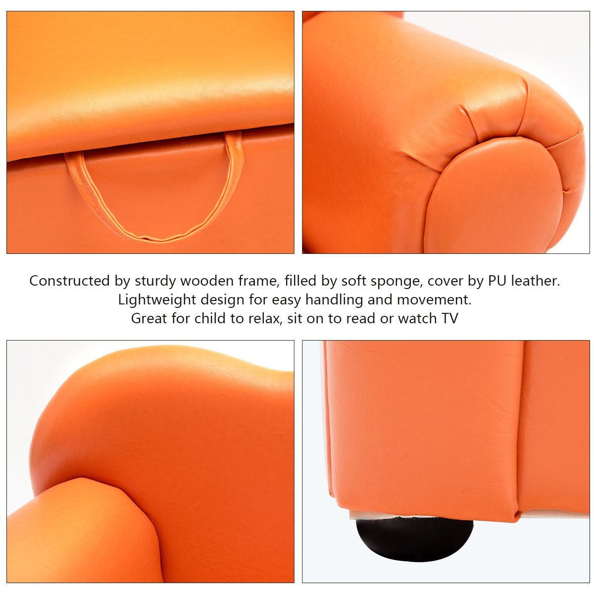 Costzon Kids Sofa, PU Leather Upholstered Armrest, Sturdy Wood Construction, Toddler Chair (Orange Sofa with Storage Box) by Costzon (Image #3)