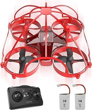 Opinión sobre ATOYX Mini Drone para Niños y Principiantes, AT-66D RC Drone Protección Integral, 3D Flips,Una Tecla de Retorno, Modo sin Cabeza, Mejor Dron de Juguete, 2 Baterías,Rojo