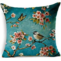 Oil Painting Japanese Cherry Blossoms Cotton Linen Throw Pillow Case Cushion Cover Home Sofa Couch Decorative 18 X 18 Inch