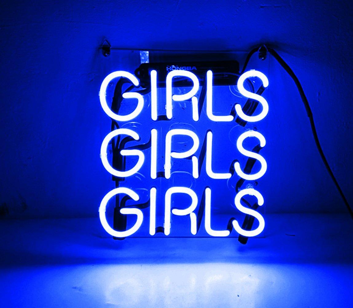 Night Light for Kids Girls Adults Neon Beer Sign for bars Glass Handmade Warm Light Home Decor Wall Art Lamp Custom - for Bedroom, Living Room, Hallway, Stairways, Garage, Windows-GIRLS GIRLS GIRLS
