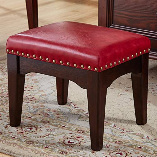 Zhengdaikang Foot Stool Small Red Leather Ottoman Wooden Square Upholstered Foot Rest