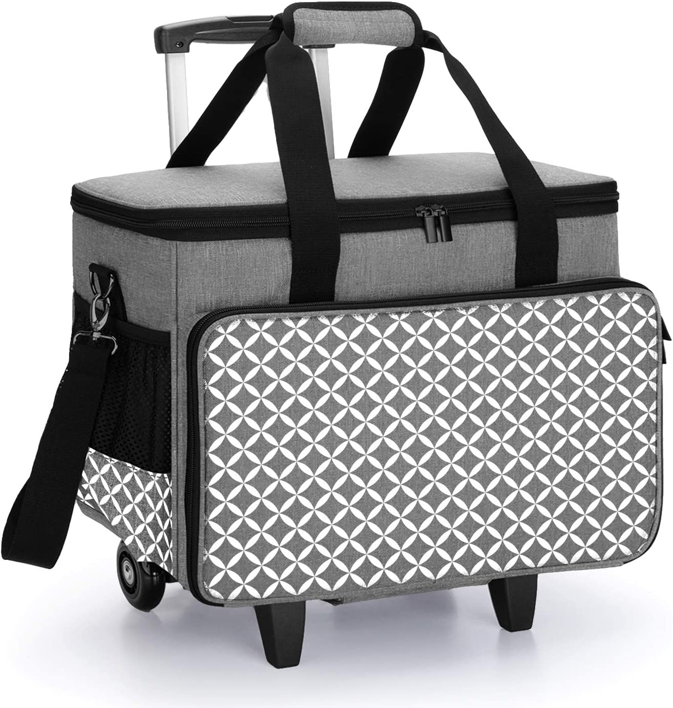 Yarwo Rolling Scrapbook Tote Bag with Wheels Detachable Trolley Craft Carrying Case with Removable Bottom Wooden Board for Scrapbooking and Crafting Gray with Arrow