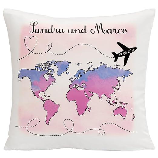 Geschenke 24 GmbH Cojín - Viaje De Bodas con Mapa del Mundo ...