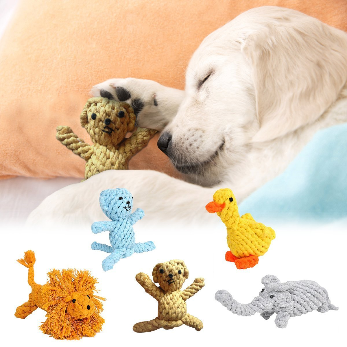 5 PCS Dog Toy Animal Modeling Environmental Cotton Rope Doll Puppy Teeth Toys Chewing and Training Toys