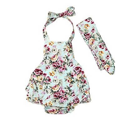 Baby Girls Romper, Inkach Little Girl Floral Printed Straps Romper Jumpsuit Kids Headband Outfits Sunsuit Clothing