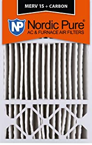 Nordic Pure 16x25x5HM15+C MERV 15 Plus Carbon Honeywell FC100A1029 Replacement Pleated AC Furnace Air Filter, 1 Pack
