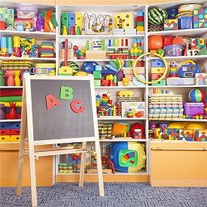CSFOTO 5x5ft Kindergarten Classroom Backdrop Children Playroom Toy Shelf Preschool Education Photography Background Children Room Decoration Kids Portrait Photo Studio Props Shoot Wallpaper