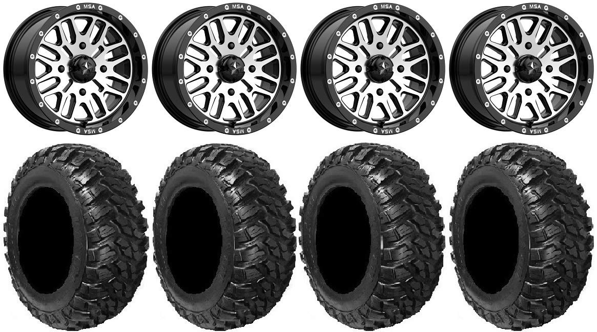 4x137 Bolt Pattern 12mmx1.5 Lug Kit MSA Machined Brute 15 UTV Wheels 30 Kanati Mongrel Tires 9 Items Bundle