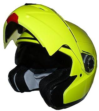 Protectwear Casco modular H910 brillante - amarillo neón con visera solar integrada Tamaño L