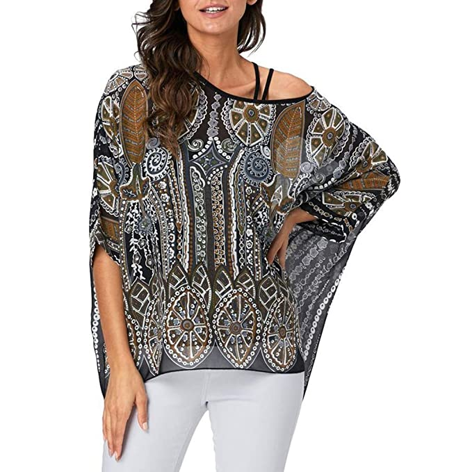 Belle Dame Floral Printed Chiffon Poncho Tunic Top Blouse Beach Cover Up
