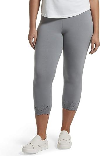HUE - Mallas Capri de algodón para Mujer, Gris - 3X US: Amazon.es ...