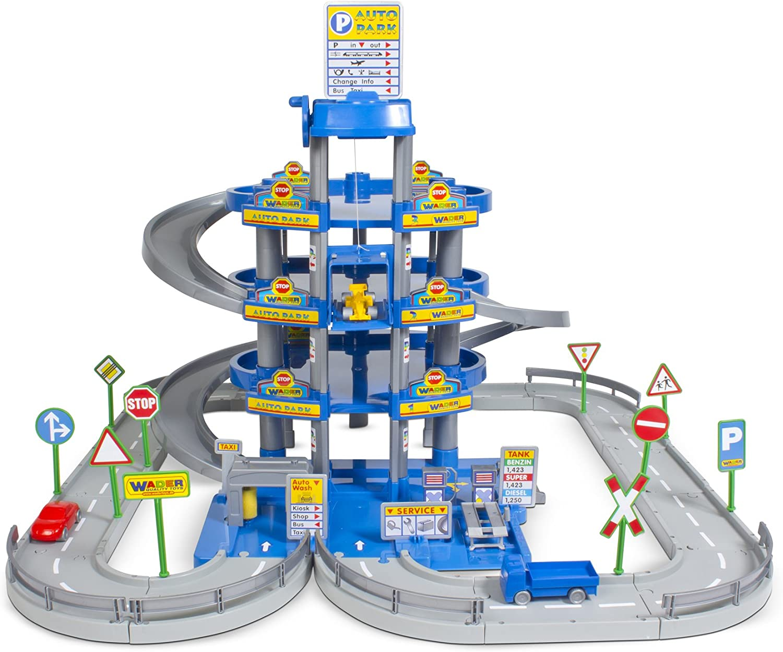 Bleu Polesie Wader Parkgarage avec 4 Niveaux avec Rue de Jeu et Voitures