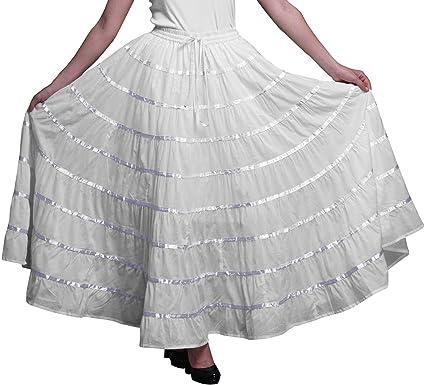 Phagun Falda Larga De Algodón De Las Mujeres 9 Falda De Círculo Completo Maxi Summer Clothing: Amazon.es: Ropa y accesorios