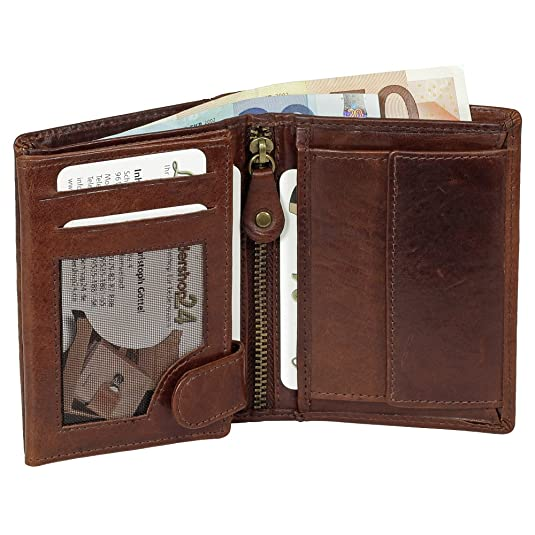 Cartera monedero cartera de piel para hombre Harold vertical marrón 5468: Amazon.es: Zapatos y complementos