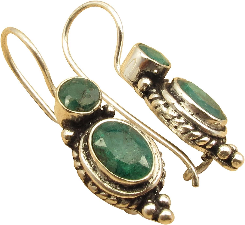 Sapphire /& CZ 925 Sterling Silver Clip-On EarringsHandmade Silver JewelryDesigner Silver Gemstone Earring For Women Ruby AMAZING EMERALD