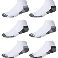 'Reebok Mens' Quarter Cut Basic Socks (6 Pack) (White/Grey, Shoe Size: 6-12.5)'